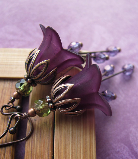Romantic Deep Purple Flower Earrings Dark Purple Flowers Gift For