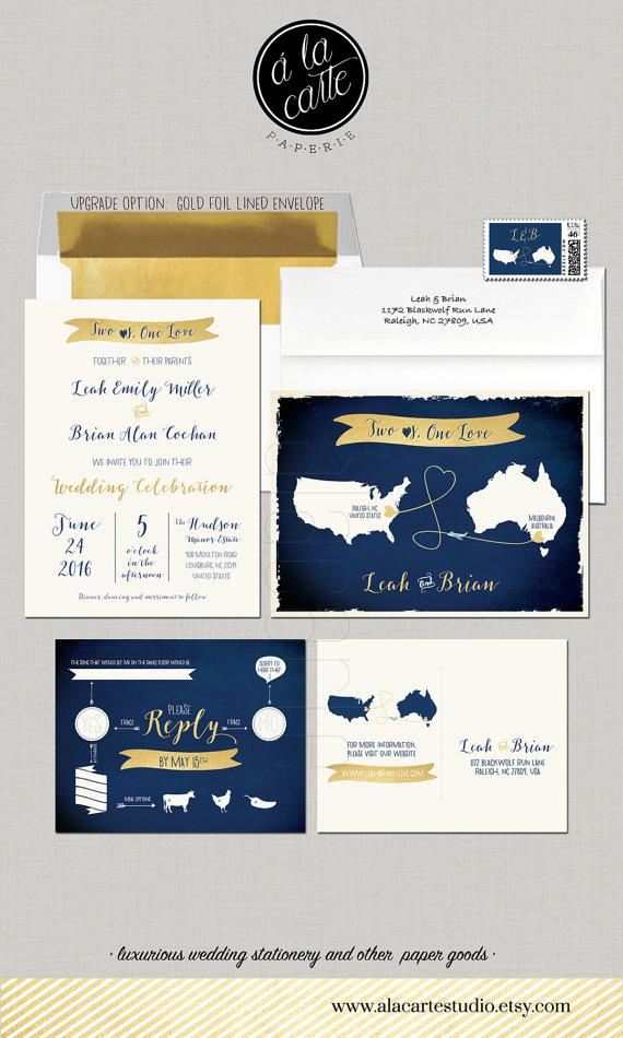 Map Style Wedding Invitation Two Hearts, One Love & Fun RSVP ...