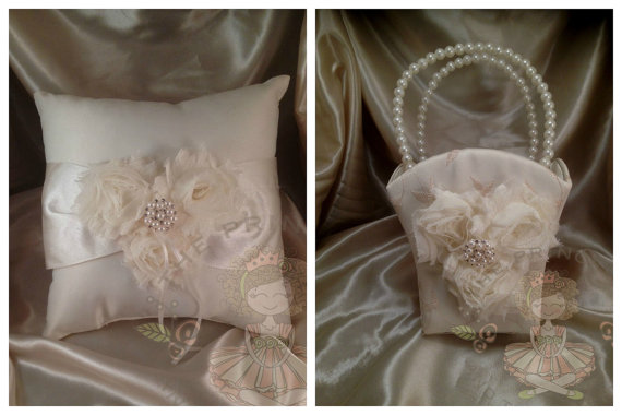 زفاف - Flower girl basket and ring bearer pillow