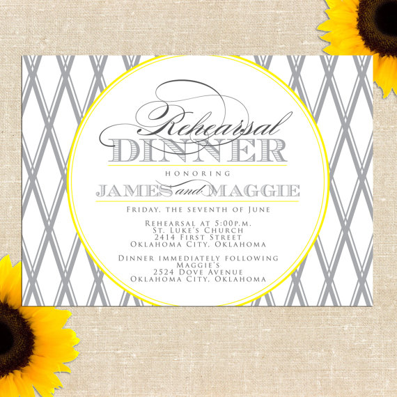 Mariage - Lattice Rehearsal Dinner Invitation - Printed Invitations or Printable Files