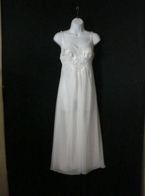 Свадьба - White Negligee Nightgown Lingerie Low Back Lace sheer Chiffon Wedding Honeymoon Sleepwear SM