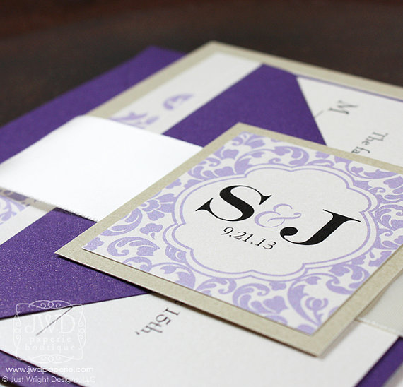 Mariage - Champagne Lavender Periwinkle Purple Wedding Invitation Wedding Invitation Suite with Ribbon Belly Band - SAMPLE KIT -  Kirkland