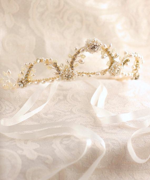زفاف - Lace Pearl Bridal Crown
