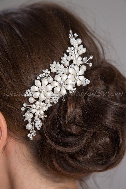 Hochzeit - Pearl and Rhinestone Bridal Hair Comb, Rhinestone Wedding Headpiece, Wedding Hair Accessory - Rebecca