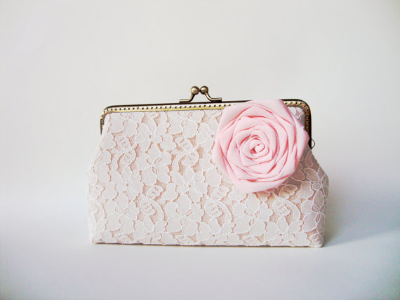 Mariage - Wedding Party White Lace Clutch with Detachable Silk Flower Brooch (Choose your color) / rustic shabby chic / Vintage bridal Inspired clutch