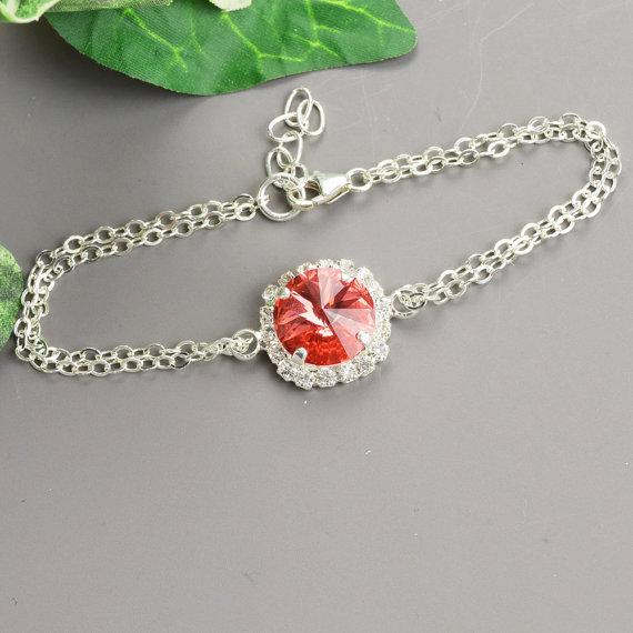 زفاف - Coral Bracelet - Orange Coral Bridesmaid Bracelet - Swarovski Crystal Bridesmaid Jewelry - Crystal Wedding Jewelry - Bridal Jewelry