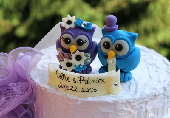 Wedding - Owl love bird wedding cake topper, malibu blue and royal purple owls, white sunflower bouquet