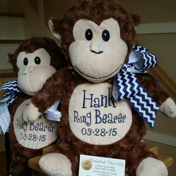 Ring bearer gifts personalized monkey plush soft monkey boys ring bearer gifts personalized monkey plush soft monkey boys gifts baby shower nursery room birthday gifts monogrammed gifts negle Images