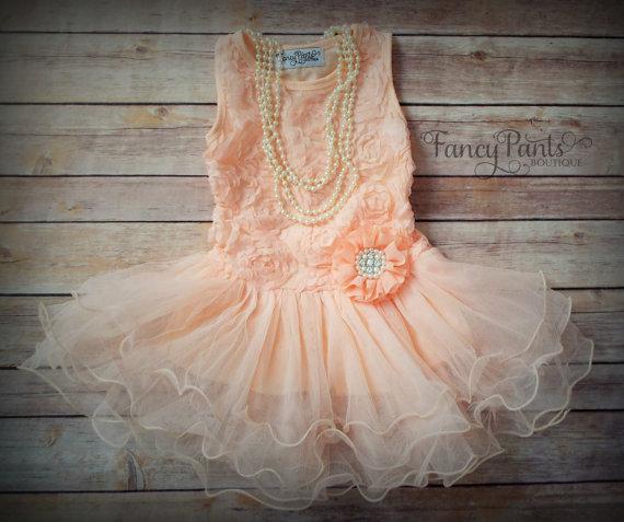 زفاف - Peach Toddler Flower Girl Tutu Dress