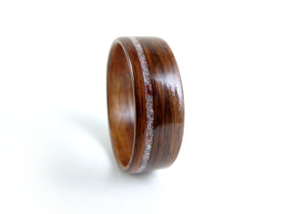 Wedding - Rosewood Wood Ring, Coral Inlay, Wood Wedding Ring, Wood Engagement Ring, Bentwood Ring, Bent Wood Ring, Custom Wood Ring