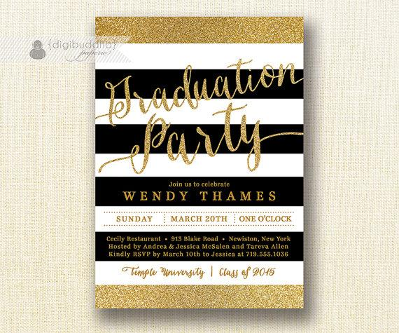 زفاف - Gold & Black Graduation Party Invitation Glitter Stripes Black Modern Script Bachelorette FREE PRIORITY SHIPPING or DiY Printable - Wendy