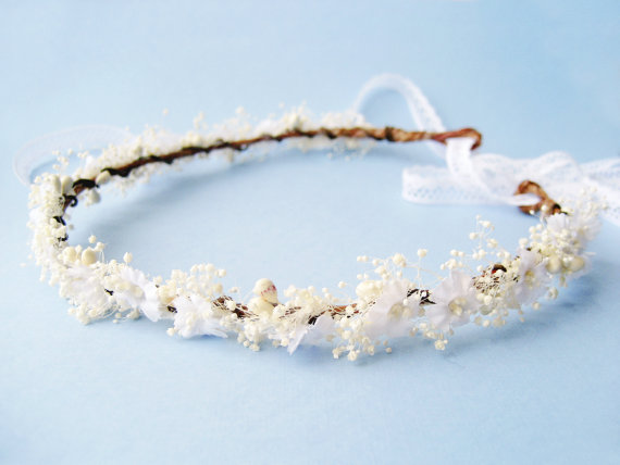 Wedding - Baby's breath flower crown, Rustic wedding hair accessories, Bridal headpiece, Floral headband - WHISPER