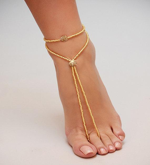 Свадьба - Barefoot Sandals, Beach wedding Gold Barefoot Sandal, Pearl Bead Gold Barefoot shoes, Gold Barefoot Sandals, barefoot shoe, footless sandal