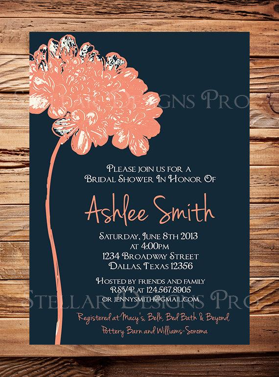Wedding - Bridal Shower Invitation,Flower Bridal or Wedding shower Invitation,Wedding Shower, Navy, Coral, Yellow, Blue, Green digital - Item 1185