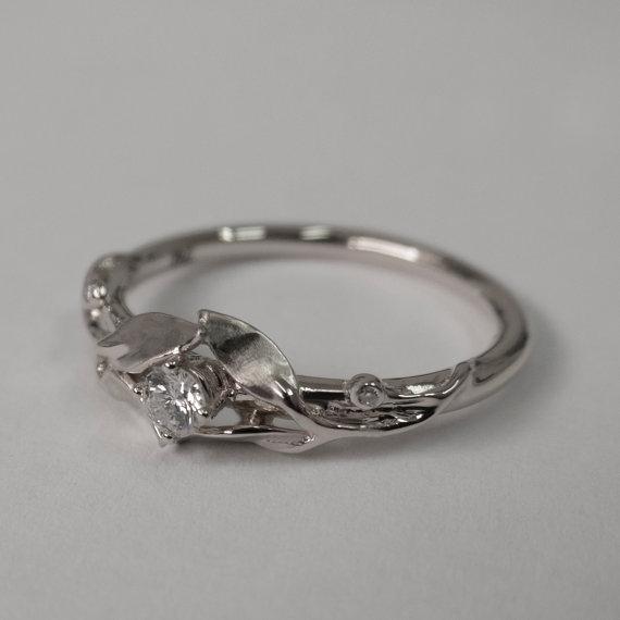 زفاف - Leaves Engagement Ring - 14K White Gold and Diamond engagement ring, engagement ring, leaf ring, filigree, antique, art nouveau, vintage