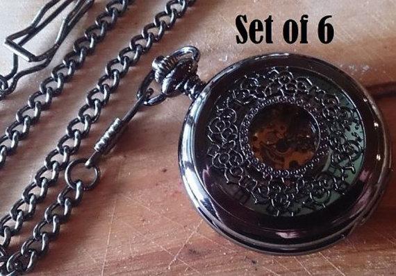 Hochzeit - Set of 6 Pocket Watches with Chains Gunmetal Black Groomsmen Gift Wedding Pocket Watch