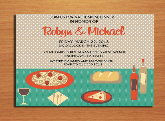 Italian Table Wedding Rehearsal Dinner Party Invitation Cards
