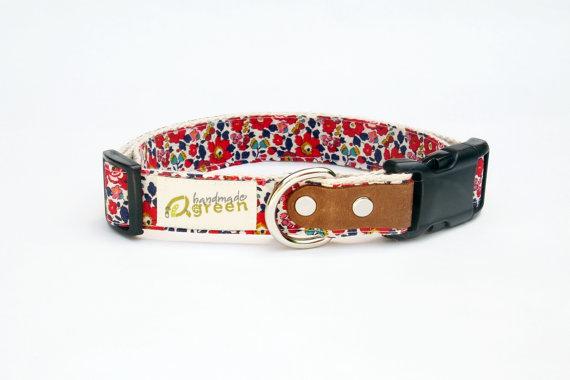 زفاف - Liberty of London, Red Betsy Ann. Hemp Dog Collar. Small-Medium-Large.