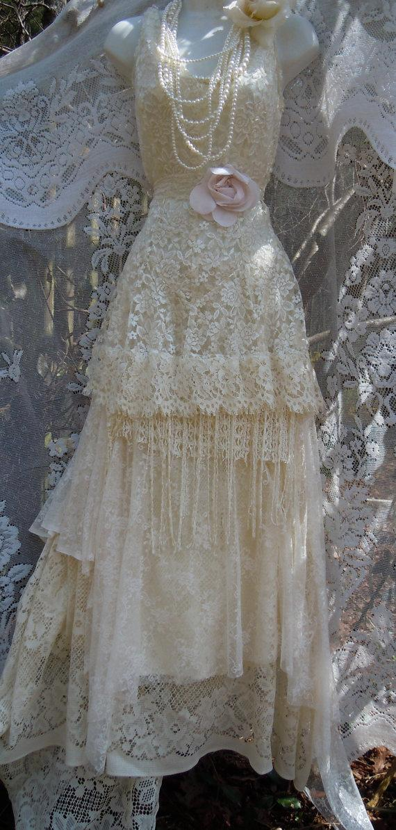 Cream wedding dress tiered lace tassels beaded vintage for Vintage beaded lace wedding dress