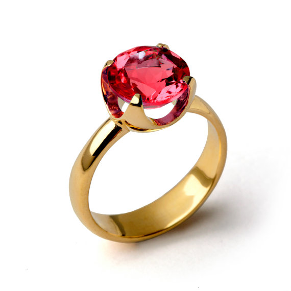 Mariage - CUP Ruby Engagement Ring, Gold Ruby Ring, Ruby Promise Ring, Large Ruby Ring, Gold Statement Ring, Ruby Solitaire Ring
