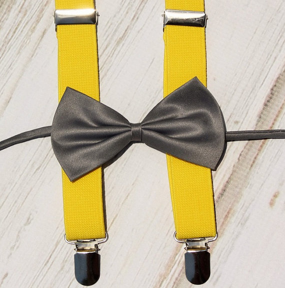 Wedding - boys suspenders bow tie, baby first birthday, cake smash outfit, photo prop, toddler bow tie suspenders, ring bearer set