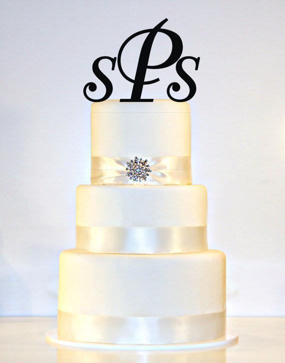 custom 3 initial monogram wedding cake topper in any letters