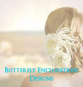 Wedding - Ivory Hair Flowers Set, Wedding Hair Accessories, Bridal Hair Clip - Rhinestone Audrina and Rhinestone Audrina Feather Clip Set