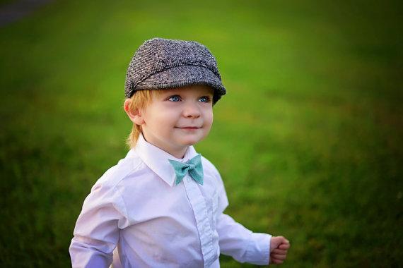 Wedding - Baby bowtie -Boys felt bo tie - baby, toddler, boys bowtie - blue bow tie
