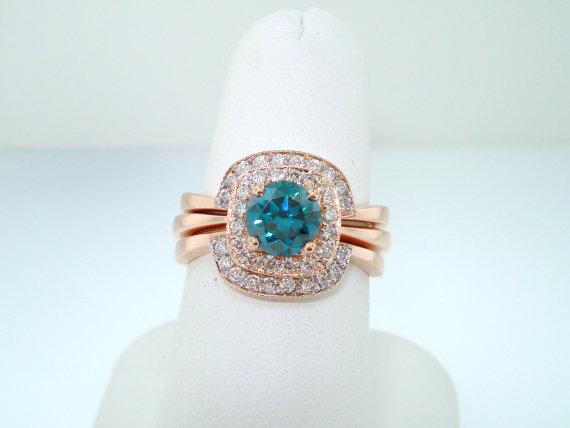 Wedding - 14K Rose Gold Blue Diamond Engagement Ring and Wedding Band Sets 1.50 Carat HandMade Bridal Sets
