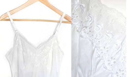 Свадьба - 1960s Cotton Blend Slip / 32 Full Slip / 1960s White Slip / 60s Lace Slip / Sleepwear and Intimates / Womens Clothing Lingerie
