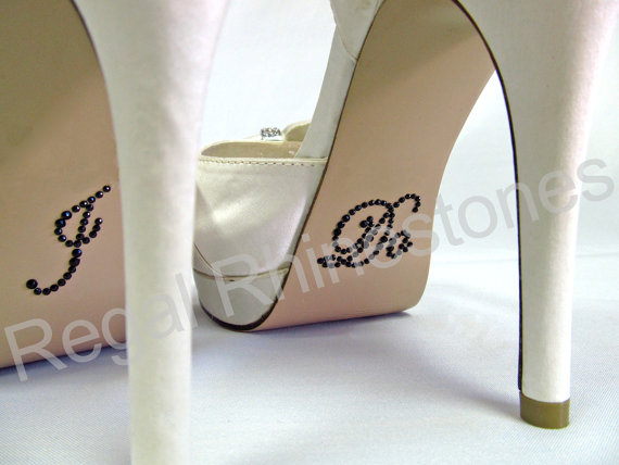 Свадьба - I Do Shoe Stickers - BLACK SCRIPT Rhinestone I Do Wedding Shoe Appliques - Rhinestone I Do Shoe Stickers for your Bridal Shoes