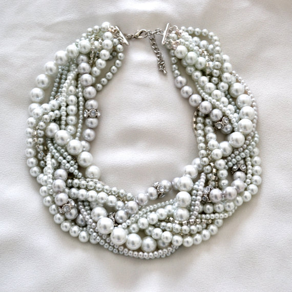 Wedding - The Antoinette Bridal Pearl Statement Necklace // Vintage Inspired Bridal White and Silver Pearl Necklace with Rhinestones Accents