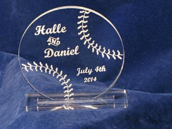 Wedding - Wedding Cake Topper Baseball Groom's Cake Custom Laser Engraved Monogram