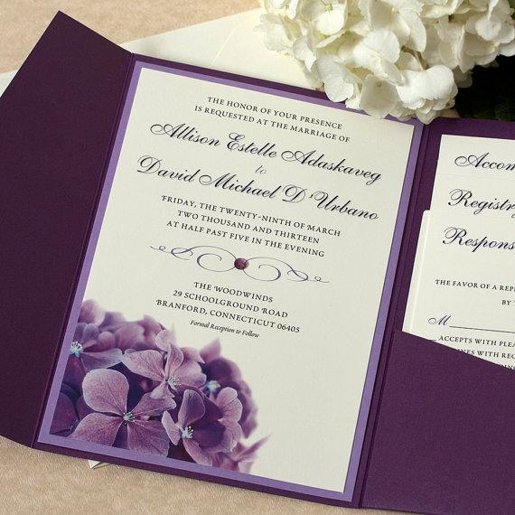 زفاف - Purple Hydrangea Wedding Invitation, Floral Invitation, Purple Wedding, DEPOSIT