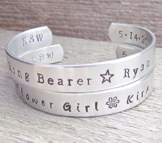 Wedding - SET of 2 Ring Bearer Flower Girl  Toddler Child Name Bracelet WEDDING Party Cuff Customize Boy Girl ADDITIONAL Stamping To The Inside