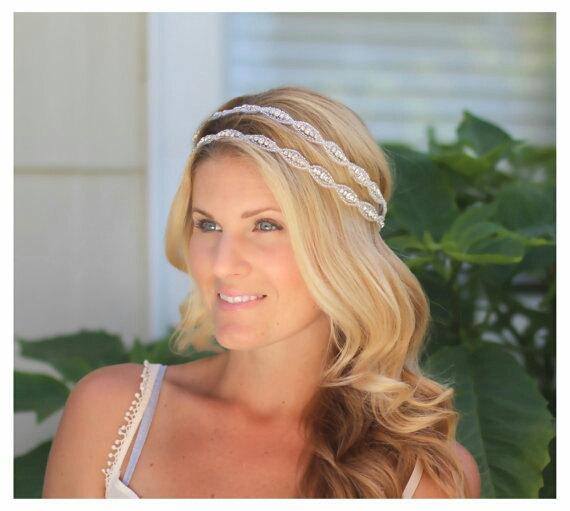 Wedding - Double Caitline  Rhinestone bridal headband, wedding headband, wedding hair accessories, crystal headband, bohemian bridal headband