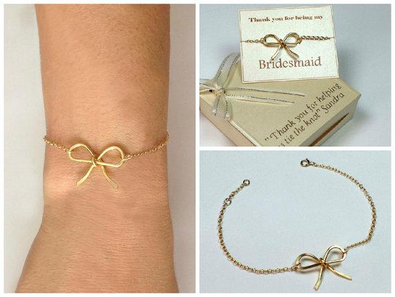 Wedding - Gold-filled bow bracelet. Bridesmaids bow bracelet. Mother of the groom bracelet.Mother of the bride bracelet.