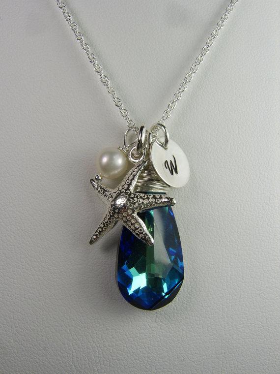 Свадьба - Beach Wedding Jewelry Set of 4 - Starfish Bridesmaid Necklace - Bridal Party Jewelry