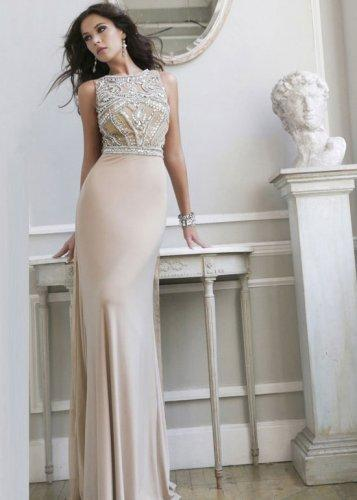 Düğün - Long High Neck Rhinestone Beaded Nude Silver Evening Gown