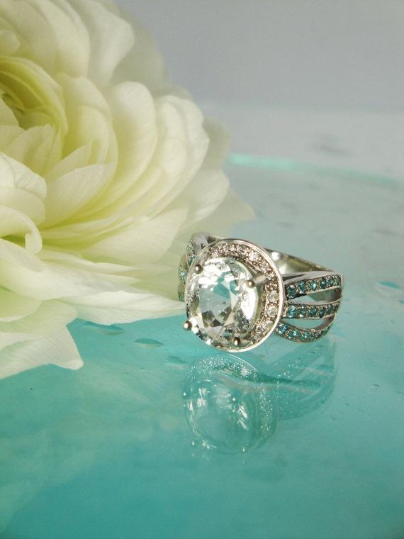 زفاف - Captivating One Of A Kind Ice Blue Aquamarine And Blue Topaz Sterling Silver Ring