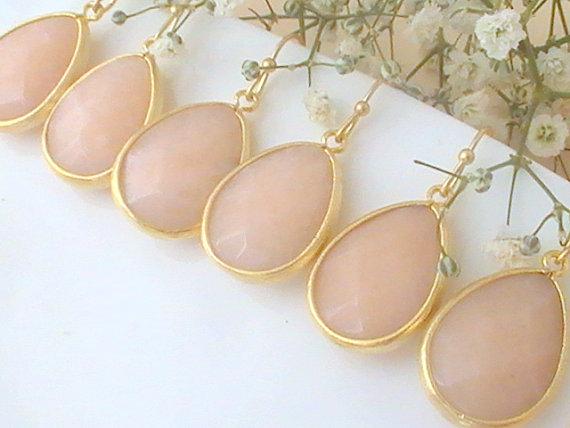 Wedding - Pink / Peach Drop Earrings - 10% Off Set of 7 Bridal Wedding Maid of Honor Dangle Dainty Elegant Bridesmaid Gift