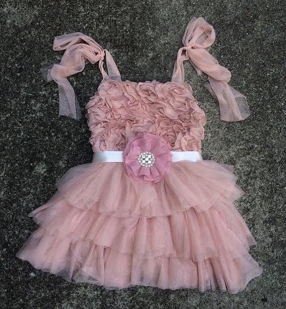 Boda - Dusty Rose Tutu Shabby Chic Dress and hand crafted embellished flower sash/Birthday/Wedding/Flower Girl Dress/Tea Party