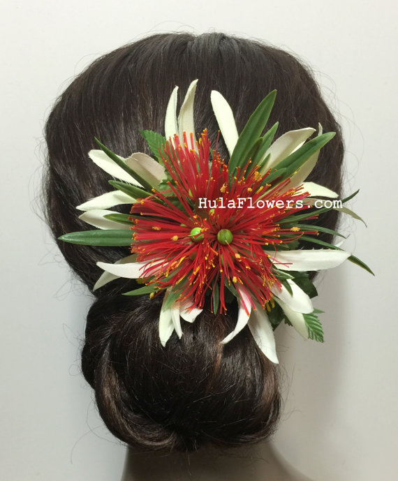 Mariage - Hawaiian Red Lehua  and Silk Spider Lily Hair Clips, For Hula dancer accessories, Wedding Party, Gift Idea, Handmade in USA