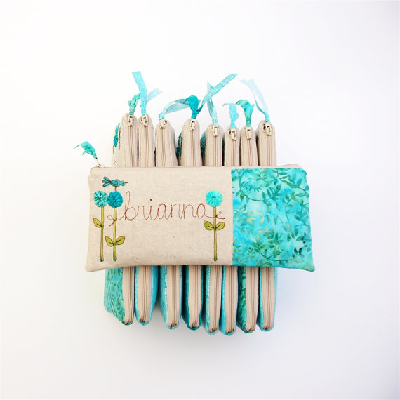 Mariage - Mint Blue Wedding Clutches, Personalized Bridesmaid Gift Set of 9, Fresh Colors, Spring Wedding MADE to ORDER by MamaBleuDesigns on etsy