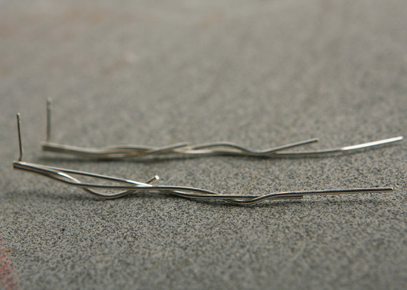 Mariage - Long silver earrings, Handcrafted jewelry, Free shipping,