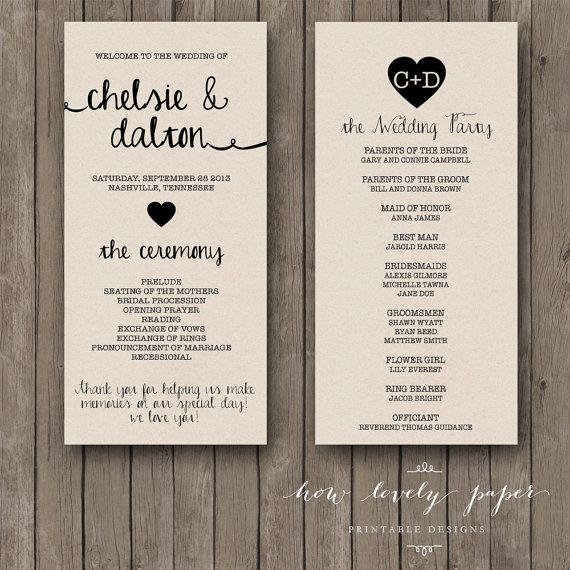 Wedding - Printable Wedding Program - the Ella Collection