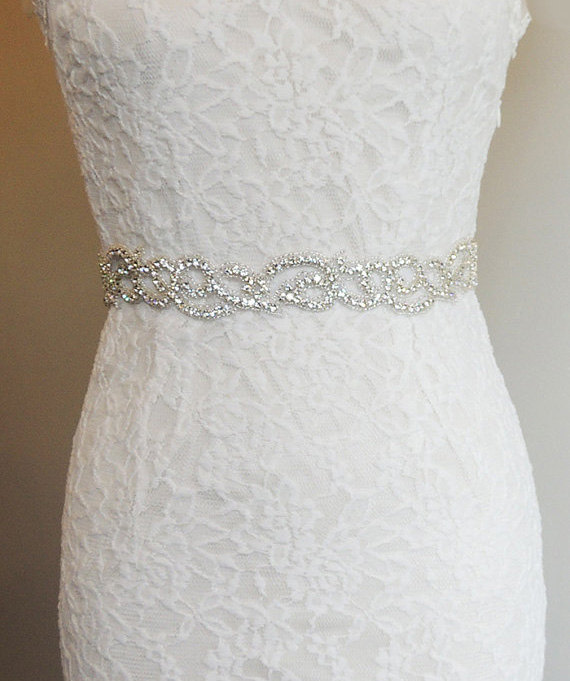 NATASHA - Crystal Beaded Bridal Belt Sash - Rhinestone Wedding Gown ...
