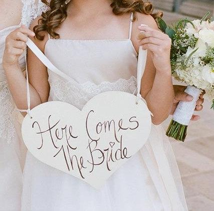 Hochzeit - Here Comes The Bride Sign Just Married Hand Painted Wedding Photo Prop Shabby Chic Rustic Wedding Decor (item P10209)
