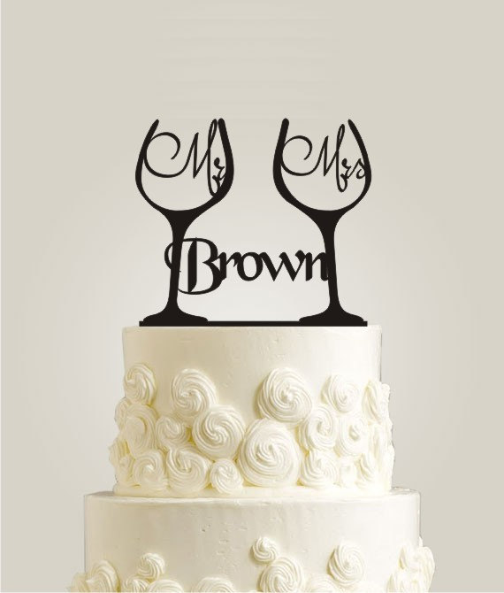 Personalized Mr U0026 Mrs Toasting Wine Glass Wedding Cake Topper