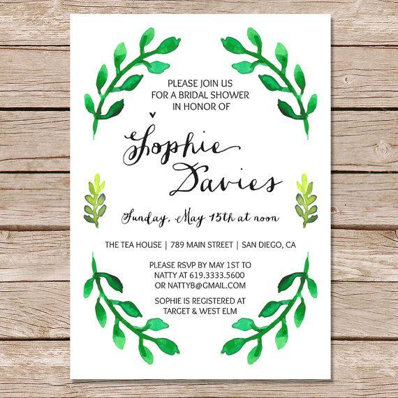 Nature Themed Wedding Invitations Botanical Bridal Shower Invitation Spring Bridal Shower